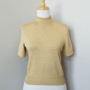 St. John Basics Gold Mock Turtleneck Knit Top